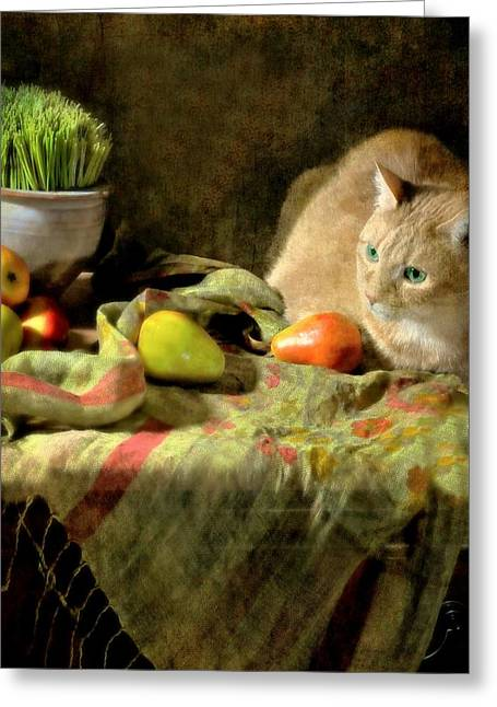 Still Life With Pears Greeting Cards - Fruitful Blessings Greeting Card by Diana Angstadt