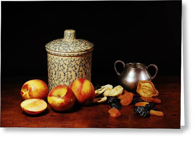 Still-life With Peaches Greeting Cards - Fruitful Greeting Card by Diana Angstadt