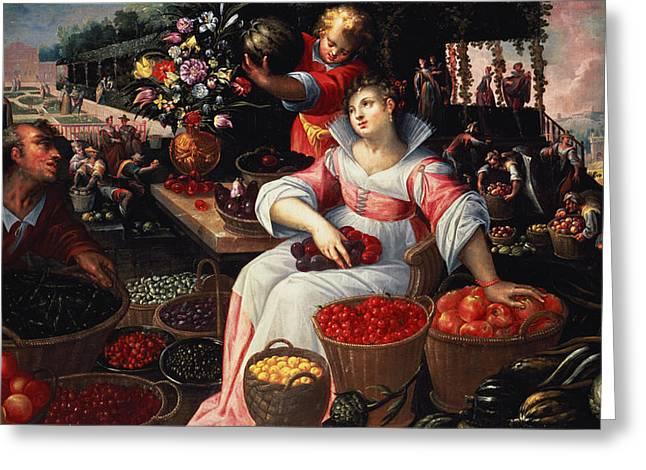 Plentiful Greeting Cards - Fruitmarket Summer, 1590 Greeting Card by Frederik Valckenborch