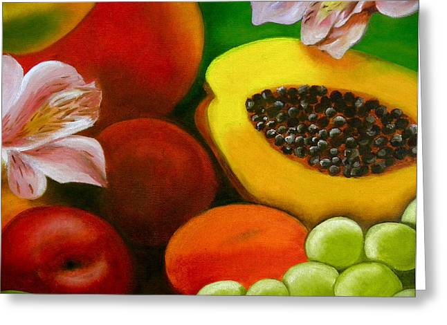 Mango Paintings Greeting Cards - Fruits and flowers Greeting Card by Fanny Diaz
