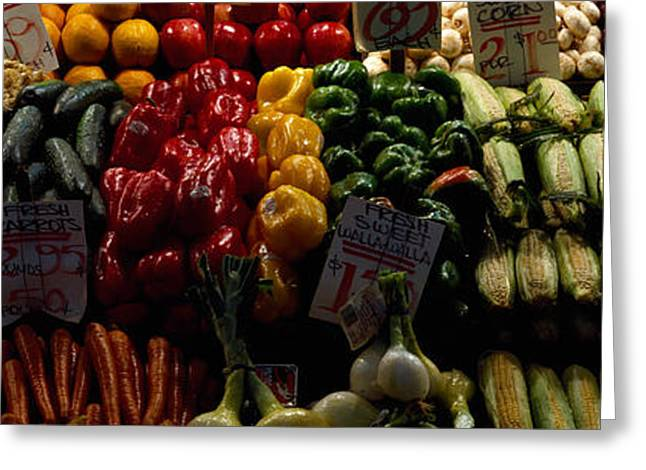 Green And Yellow Greeting Cards - Fruits And Vegetables At A Market Greeting Card by Panoramic Images