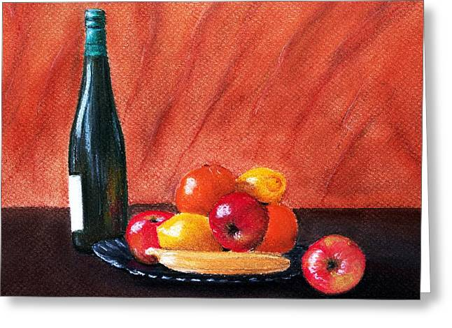 Interior Still Life Pastels Greeting Cards - Fruits and Wine Greeting Card by Anastasiya Malakhova