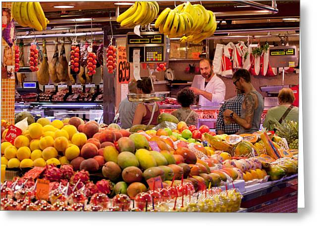 Street Market Greeting Cards - Fruits At Market Stalls, La Boqueria Greeting Card by Panoramic Images