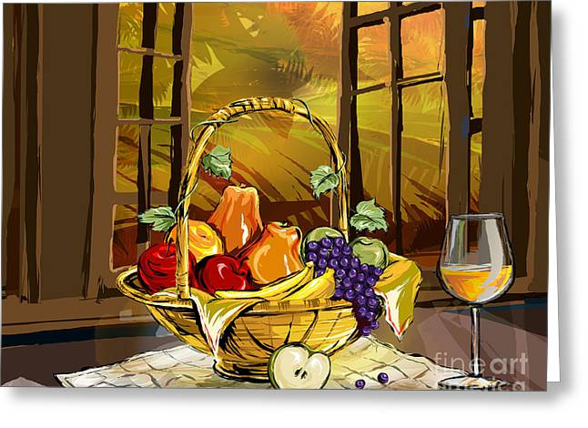 Grape Leaves Mixed Media Greeting Cards - Fruits Basket Greeting Card by Bedros Awak