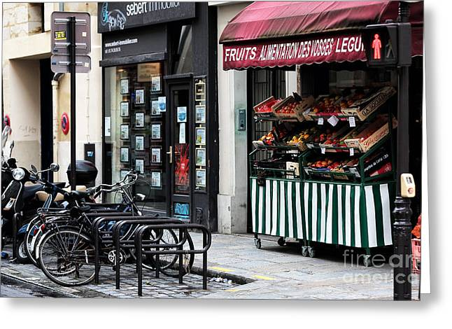 Fruit Stand Greeting Cards - Fruits in Paris Greeting Card by John Rizzuto