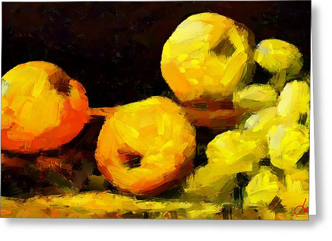 Vincent Dinovici Greeting Cards - Fruits on a table TNM Greeting Card by Vincent DiNovici
