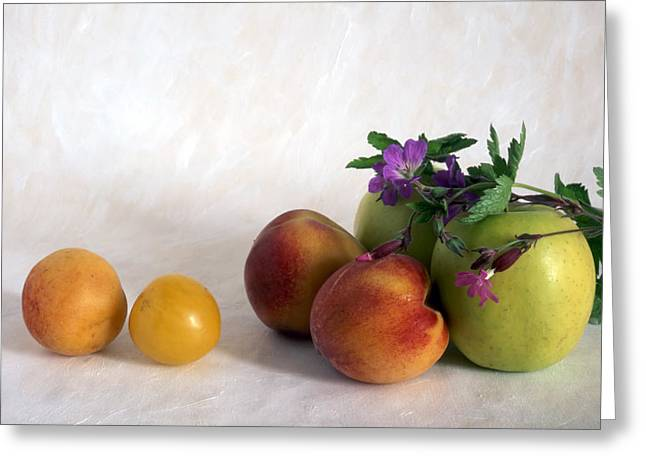 Passion Fruit Greeting Cards - Fruits On Painted Background Greeting Card by IB Photo