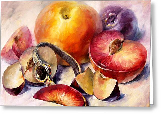 Popular Art Greeting Cards - Fruits - PALETTE KNIFE Oil Painting On Canvas By Leonid Afremov Greeting Card by Leonid Afremov
