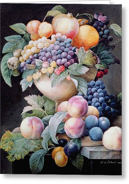 Grape Print Greeting Cards - Fruits Greeting Card by Pierre Joseph Redoute