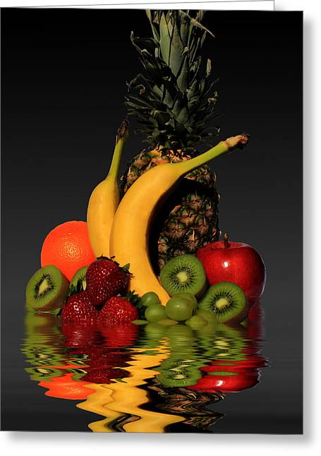 Grape Leaves Mixed Media Greeting Cards - Fruity Reflections - Dark Greeting Card by Shane Bechler
