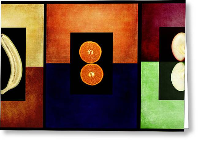 Meaty Greeting Cards - Fruity Triptych Greeting Card by Fran Riley