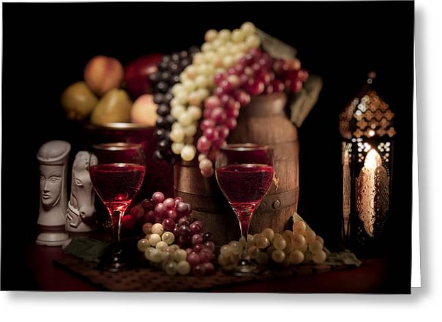 Knighted Greeting Cards - Fruity Wine Still Life Greeting Card by Tom Mc Nemar