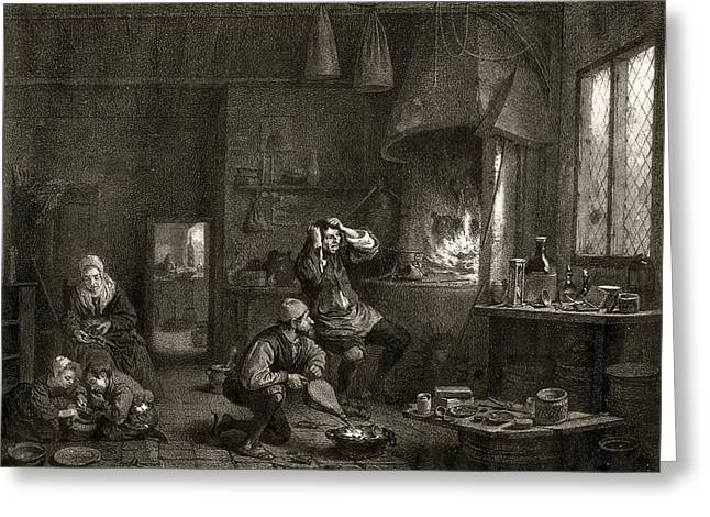 Frustrated Greeting Cards - Frustrated alchemist, historical artwork Greeting Card by Science Photo Library