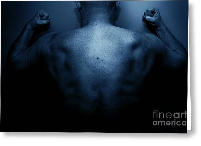 Frustrated Greeting Cards - Frustrated man expressing his anger Greeting Card by Michal Bednarek