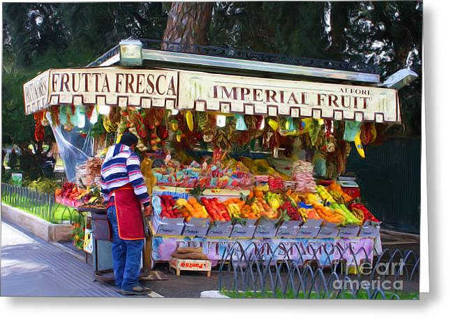 Fruit Stand Greeting Cards - Frutta Fresca Greeting Card by Tom Griffithe