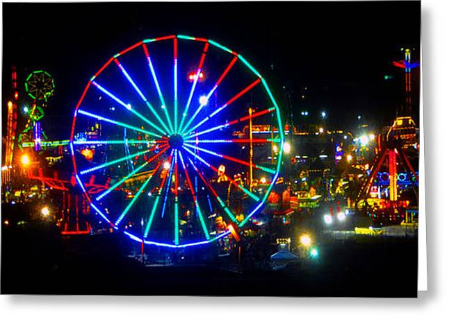 Ferris Wheel Night Photography Greeting Cards - Florida State Fair Pano work E Greeting Card by David Lee Thompson
