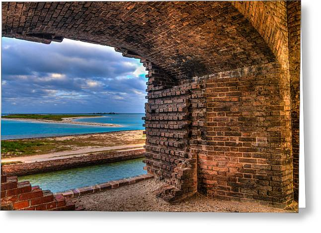Dry Tortugas Greeting Cards - Ft. Jackson and Its Horizon 2 Greeting Card by Andres Leon