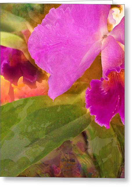 Photo-realism Mixed Media Greeting Cards - Fuchia Orchid Greeting Card by Maria Eames