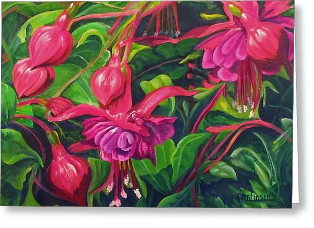 Fuchsia Fantastic Greeting Card by Carol Allen Anfinsen