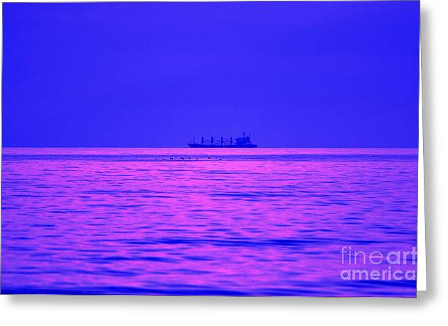 Ocean Images Digital Art Greeting Cards - Fuchsia Flock and Freighter Greeting Card by Al Powell Photography USA