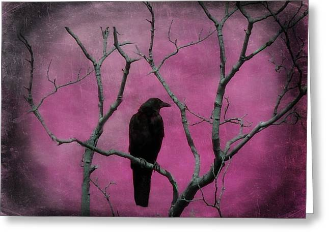 Crows In Trees Greeting Cards - Fuchsia Greeting Card by Gothicolors Donna Snyder