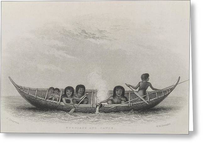 Fuegians And Canoe Greeting Card by British Library