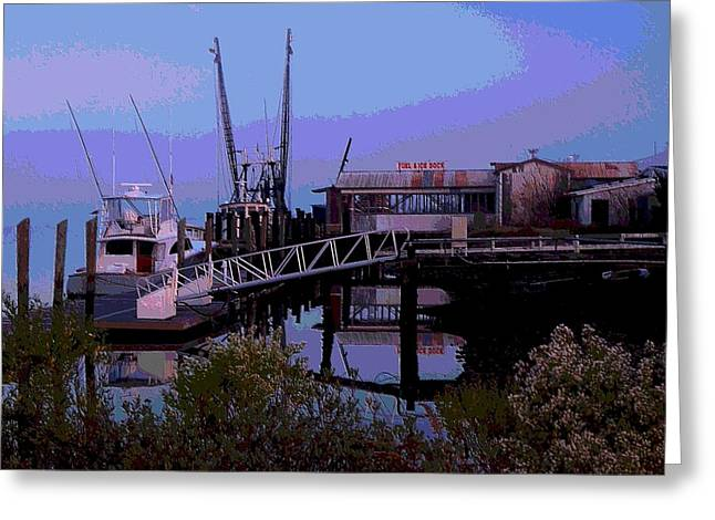 Fishing Creek Greeting Cards - Old Brunswick Fuel Dock Greeting Card by Laura Ragland