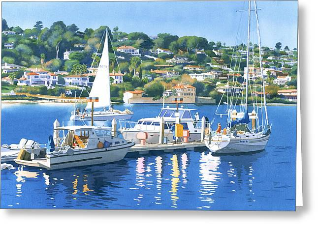 California Beach Greeting Cards - Fuel Dock Shelter Island San Diego Greeting Card by Mary Helmreich