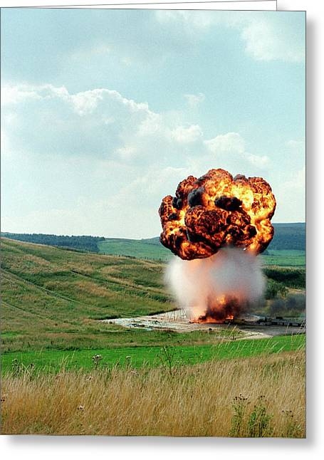 Fuel Tank Explosion Test Greeting Card by Crown Copyright/health & Safety Laboratory Science Photo Library