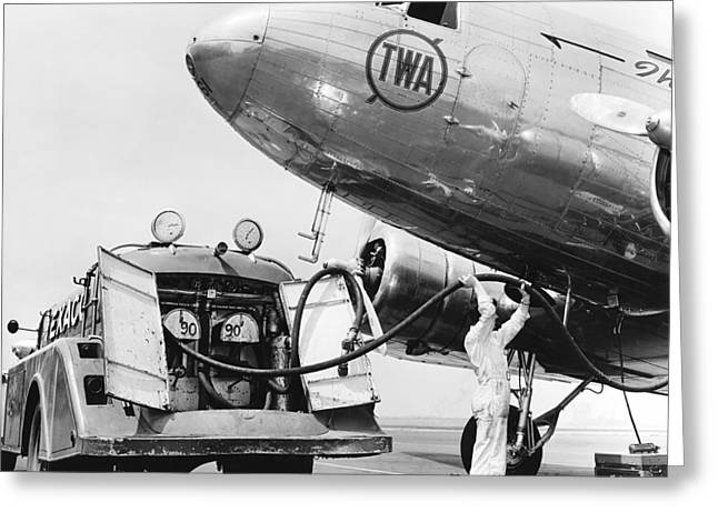 United Airlines Passenger Plane Greeting Cards - Fueling A DC-3 Airliner Greeting Card by Underwood Archives