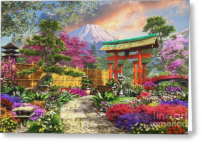Botanicals Digital Art Greeting Cards - Fuji Flora Greeting Card by Dominic Davison