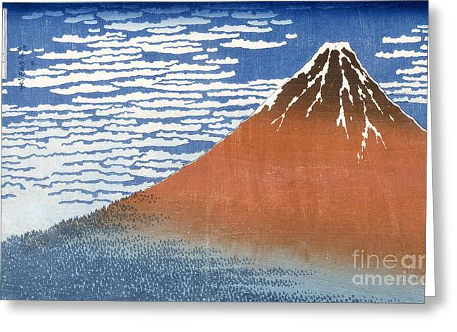 Wood Blocks Greeting Cards - Fuji Mountains in clear Weather Greeting Card by Hokusai