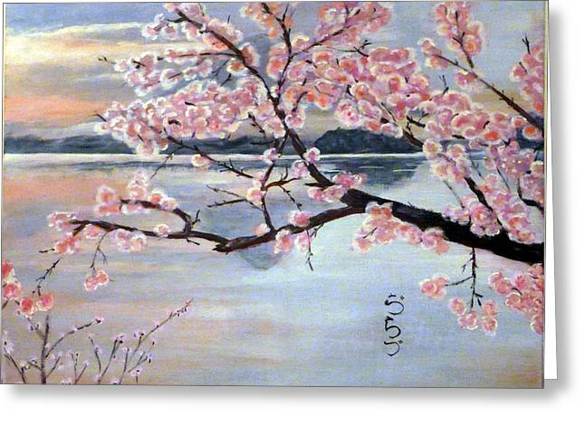 Vlad Grigore Greeting Cards - Fujisan no Sakura Greeting Card by Vlad Grigore