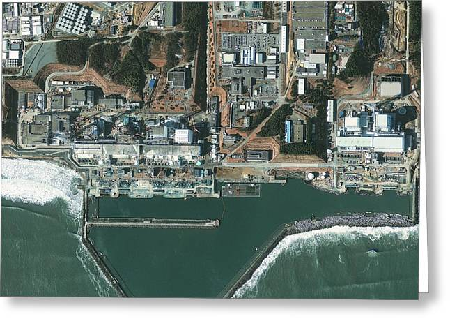 Flooding Greeting Cards - Fukushima nuclear power plant, Japan Greeting Card by Science Photo Library
