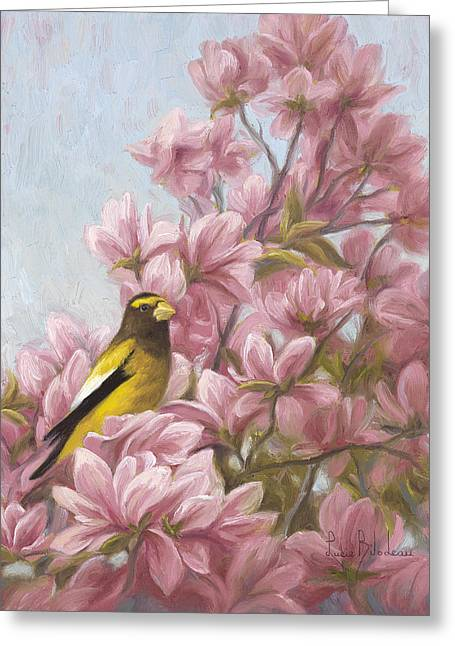 Outdoors Paintings Greeting Cards - Full-Bloom Greeting Card by Lucie Bilodeau