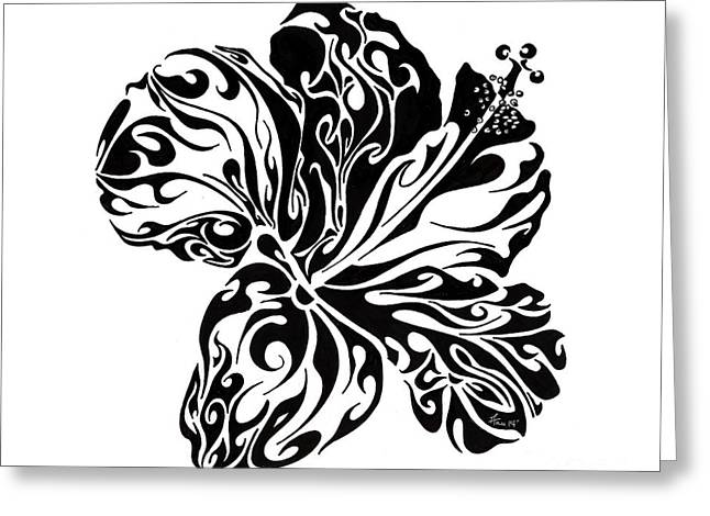 Pen And Ink Drawing Greeting Cards - Full Bloom of Hope Greeting Card by Anushree Santhosh
