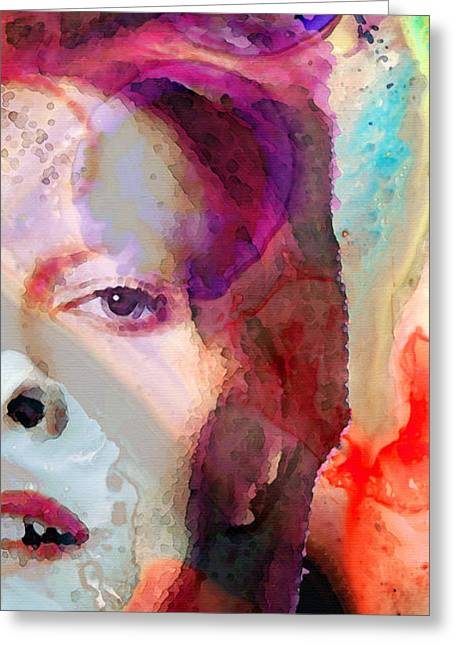 Rock N Roll Greeting Cards - Full Color - David Bowie Art Greeting Card by Sharon Cummings