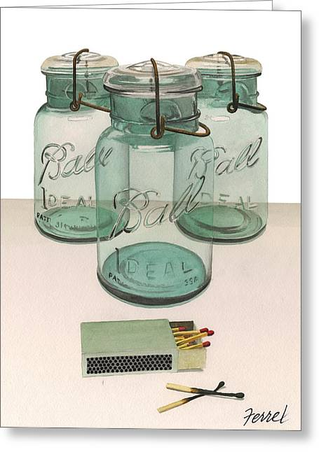 Ball Jars Greeting Cards - FULL COUNT 3 Balls 2 Strikes Greeting Card by Ferrel Cordle