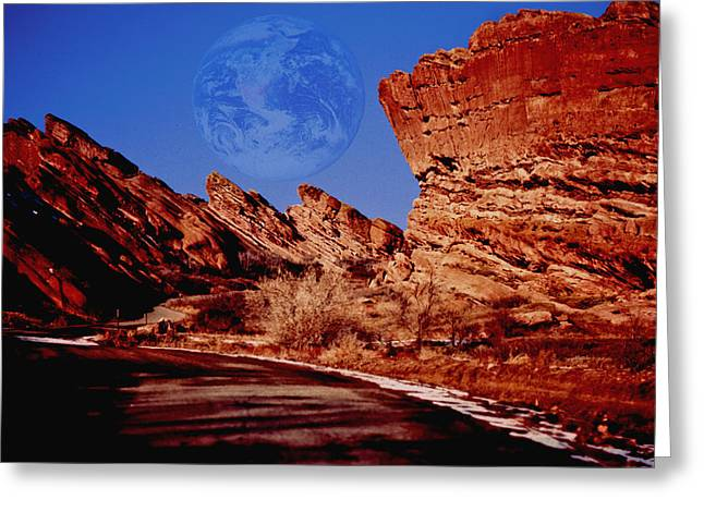Full Earth Over Red Rocks Greeting Card by Kellice Swaggerty