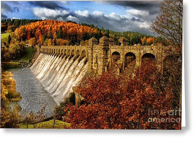 Welsh Reservoirs Greeting Cards - Full Flow Greeting Card by Graeme Pettit