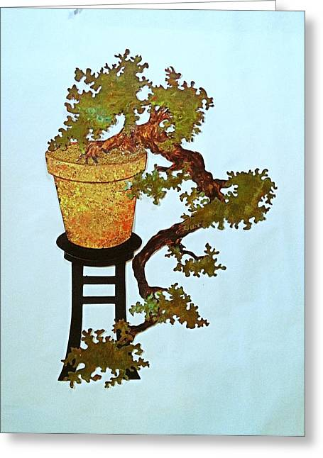 Wall Sculpture Sculptures Sculptures Greeting Cards - Full Kengai Copper Bonsai Greeting Card by Vanessa Williams