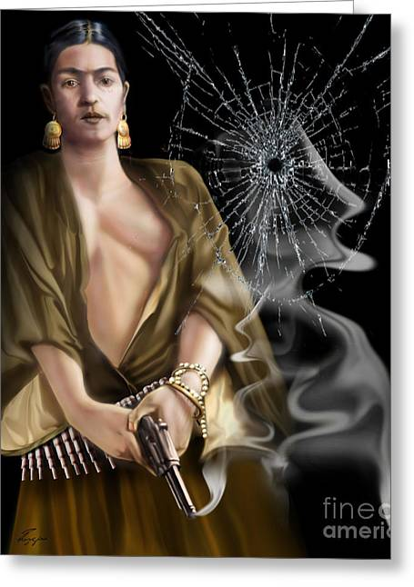 Hispanic Artists Greeting Cards - Full Length Mirror  Mirror - Frida Greeting Card by Reggie Duffie