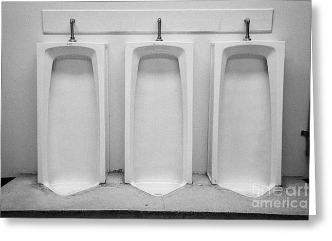Urinal Greeting Cards - full length urinals in mens toilet of High school canada north america Greeting Card by Joe Fox
