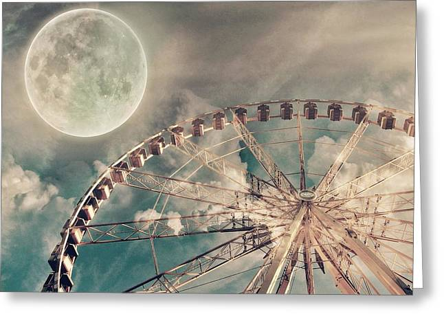 Office Space Greeting Cards - Full Moon and Ferris Wheel Greeting Card by Marianna Mills