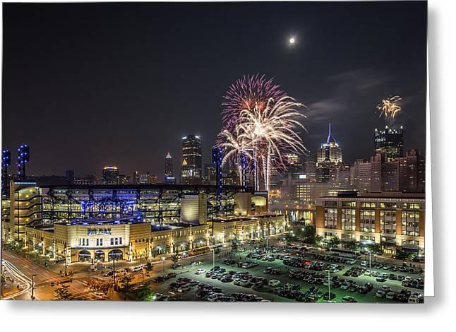 Pittsburgh Skyline.fireworks Greeting Cards - Full Moon and Fireworks 1 Greeting Card by John Duffy