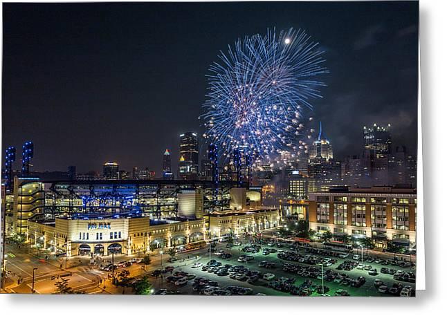 Pittsburgh Skyline.fireworks Greeting Cards - Full Moon and Fireworks 2 Greeting Card by John Duffy