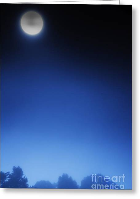 Luna Greeting Cards - Full Moon and Fog Greeting Card by Thomas R Fletcher