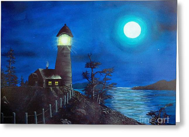 Full Moon And Lighthouse Digital Painting Greeting Card by Barbara Griffin