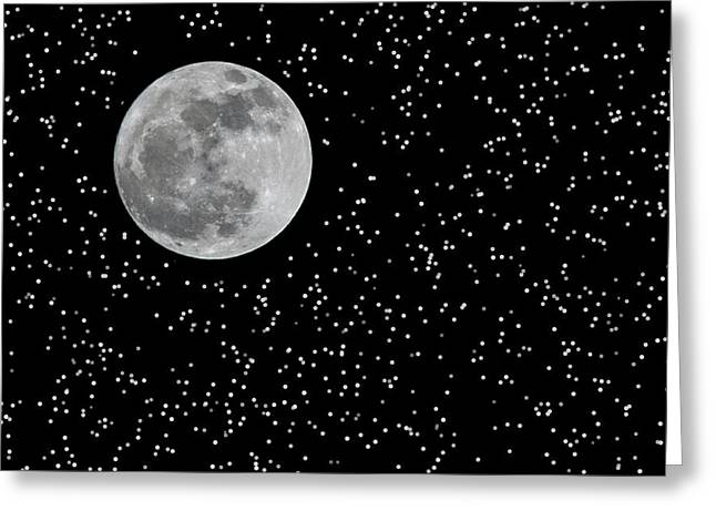 Frank Feliciano Greeting Cards - Full Moon and Stars Greeting Card by Frank Feliciano