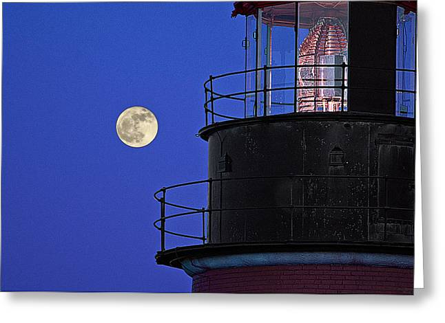Quoddy Head State Park Greeting Cards - Full Moon and West Quoddy Head Lighthouse Beacon Greeting Card by Marty Saccone